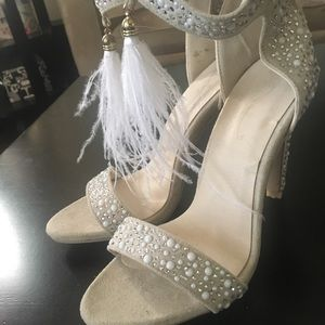 Amazon faux crystal and pearl studded heels